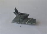 Boat woman by Janis Ridley, Sculpture, Bronze