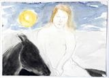 Girl on horseback by Janis Ridley, Drawing