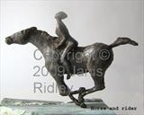 Horse and rider by Janis Ridley, Sculpture