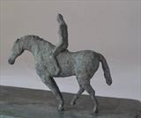 Horsewhisperer and bird by Janis Ridley, Sculpture, Bronze