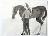 Man with horse by Janis Ridley, Drawing