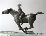 horse and rider by Janis Ridley, Sculpture, Bronze