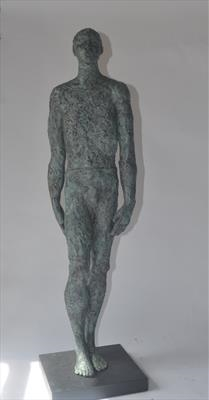 Walking man by Janis Ridley, Sculpture, Bronze